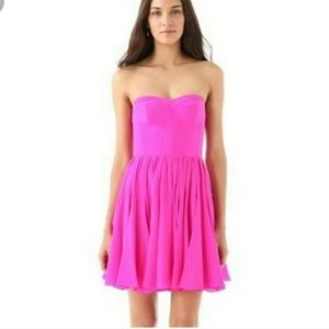Rebecca Taylor strapless fit flare pink dress NWT